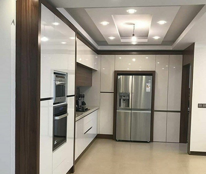 کابینت آشپزخانه سفید طلایی